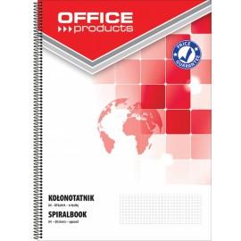Kołonotatnik OFFICE PRODUCTS, A4, w kratkę, 80 kart., 60-80gsm, perforacja